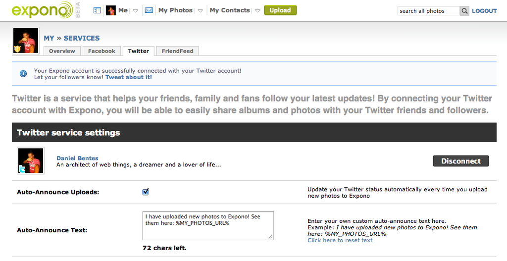 Twitter service settings page