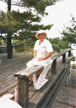 Helen on the Georgian Bay cabin deck rail.jpg