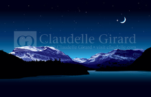 Night landscape with mountains and water
