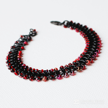Black and raspberry chic bracelet