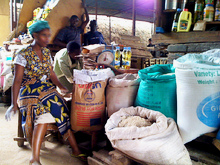 USAID sacks filled with flour on Kigali market, Rwanda