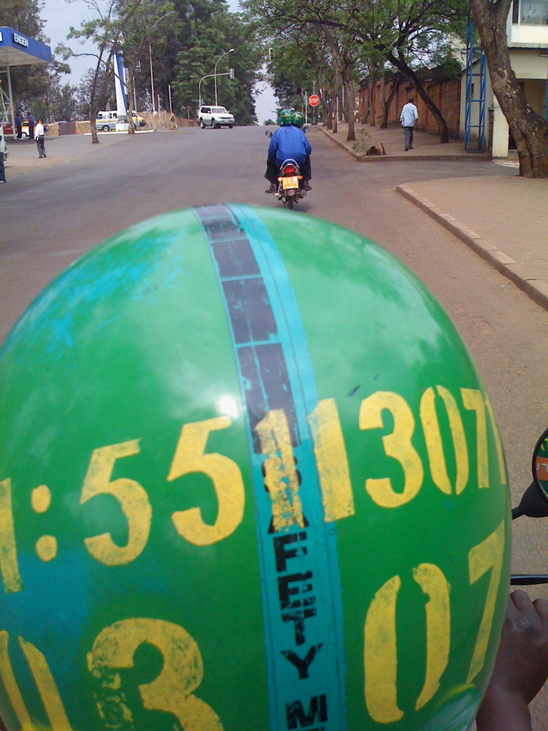 Back of a mototaxi in downtown Kigali