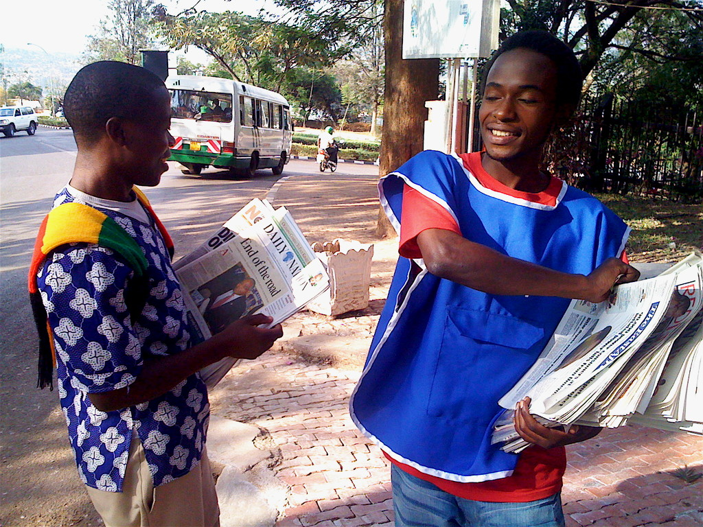 Selling newspapers
