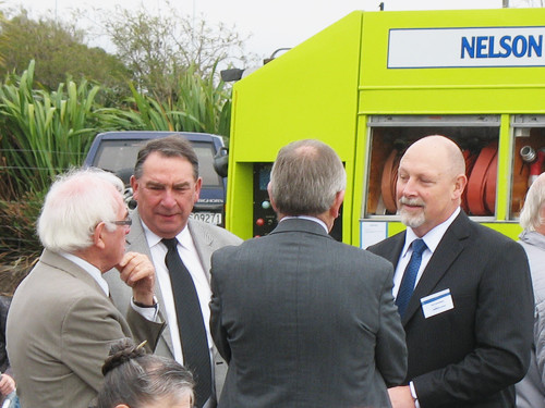 Rob Burdekin talking with Nelson Mayor Kerry Marshall and other dignitaries