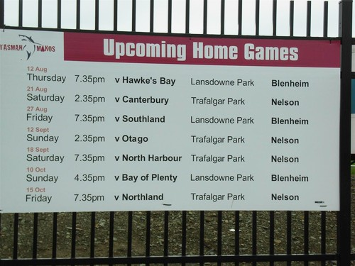 Upcoming Matches at Trafalgar Park 2010