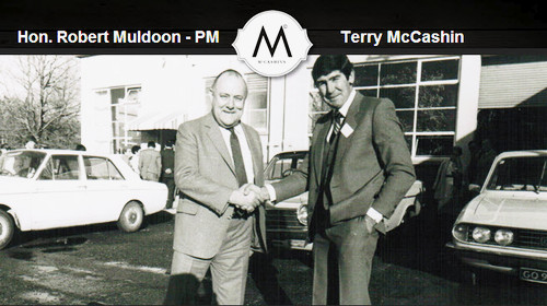 NZ PM of the day Hon. Robert Muldoon with Terry McCashin at the Official Opening ....some time back...(click for more info)