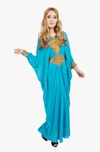 Turquoise Blue Long Sleeved Kaftan Maxi Dress
