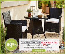 Reduce Price !! Royalcraft Cannes Black Bistro Set | Outdoor Furniture Sale