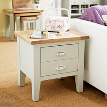 Best Oak Boston Expressions Grey 1 Drawer Lamp Table