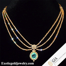 Emerald Natural Women Pendant – Exotic Gold Jewelry