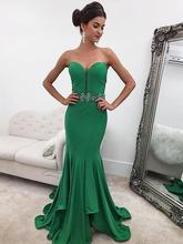 MERMAID SWEETHEART RUFFLES SATIN GREEN PROM DRESSES